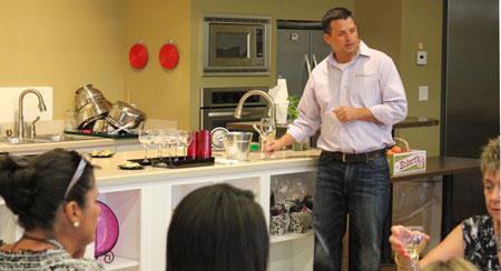 Chris Eckert, President of Eckert's, demonstrating the proper swirl technique