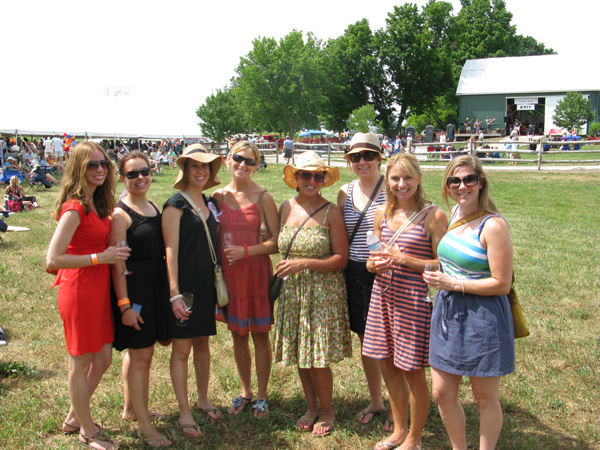 Bride to be Alicia Dabe (third from left) and her friends Kelly, Kara, Shannon, Gina, Lauren, Colleen and Theresa at Fenn Valley Wine Fest