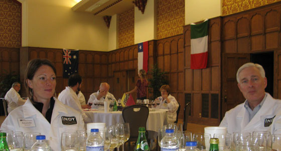 Wine judges Amanda Steward of Purdue University and Michael Pyle of National Wine and Spirits