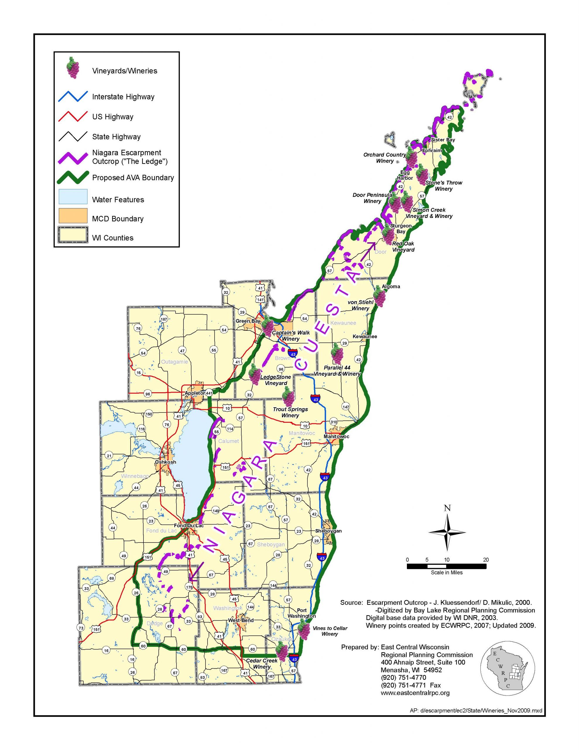 Niagara Escarpment Wisconsin Map.Wisconsin Ledge Ava Set For Ttb Approval Midwest Wine Press