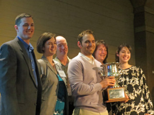 Four Daughters Winemaker Justin Osborne with the Governors Cup is joined by his wife Kristin (far right) and other members of the Osborne family.