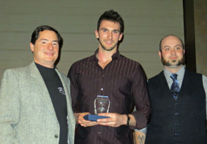 Steve Parley, Steve Boyd and Seth Reid of Parley Lake Winery with the People's Choice Award for Best Dessert Wine