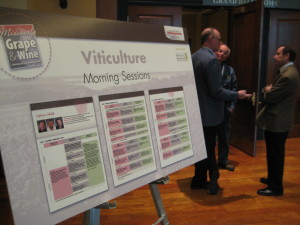 Time for another interesting viticulture lecture. Ed Hellman, Professor of Viticulture, Texas Tech University (far right) chats with colleagues.