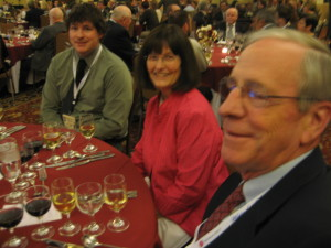 Robert Lowery and Jeanne Hunt from Silver Leaf Vineyard in Missouri enjoy the Gala Dinner with their son.