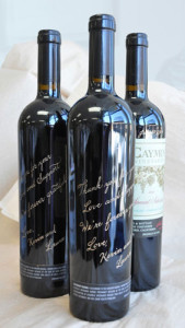 Engravery Ink engraves wine bottles at your event