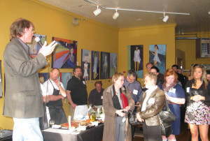 Charles Edson of Bel Lago addresses the media at a 2012 Leelanau Peninsula Vintners Association Event
