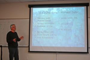 Enologist Michael Leonardelli explains the growing characteristics for the tasting's Chardonel.