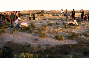 Professor Michael Fuller (left, kneeling) on the first day of excavations at Tell Tuneinir, Syria that would reveal an ancient winery