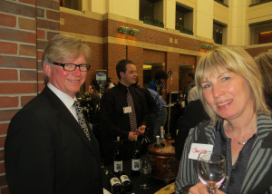 Lorenzo Lizarralde of Chatueau Arontique and Janice MacDonald of Evanston Cellars, LLC. Chateau Arontique's Chardonnay was barrel aged for 16 months, the grapes for the wine came from Glaciers Edge Farms in Brighton