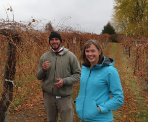John Thull,  vineyard manager and Katie Cook, enology project leader, The University of Minnesota