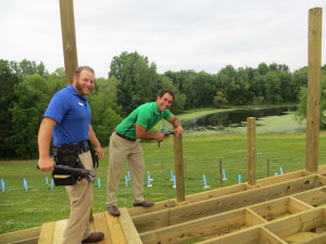 Winemaker JJ and owner Rockie Rick are also the lead builders of the new outdoor deck at Gravity Winery