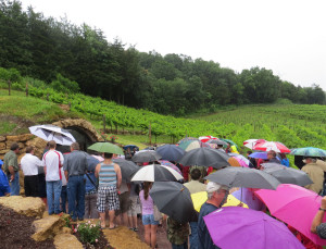 Heavy rains did not dissuade a large crowd from attending the opening of Wollersheim's historic wine cave.