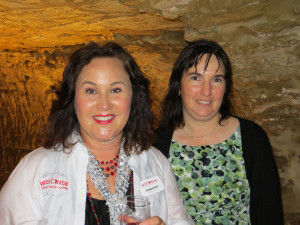 Stephanie Klett, Secretary of the Wisonsin Dept. of Tourism and Julie Coquard of Wollersheim Winery who both deserve kudos for agreeing to be photographed after a rainstorm.