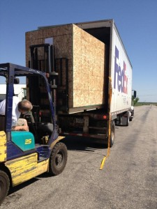 Loading our Units to be shipped to Europe, one to the Alsace in France, one to Burgundy in France and one to the Benelux.
