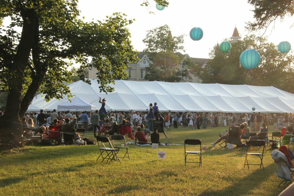 6. The picturesque setting–a massive tent on the grounds of the Village of Grand Traverse Commons–was as much a hit at this year's fifth annual Traverse City Wine & Art Festival as the music acts, great wine and 32 art fair booths. One of the entertainment additions, the 'Amazing Giants