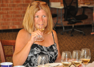 Jennifer Stanton of Wine by Jennifer judging at the Mid-American Wine Competition