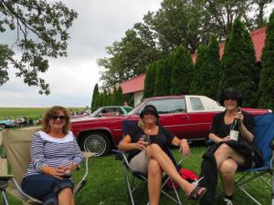 Vicki Jack, Kathy Sommer, and Julie Walker enjoying Botham wines at the Vintage Car show.
