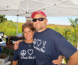Rick Mamoser, winemaker at Prairie State Winery, with co-worker Kathy at Vingtage Illinois
