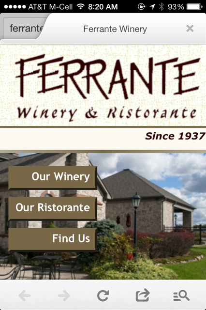 Ferrante Winery Mobile Website