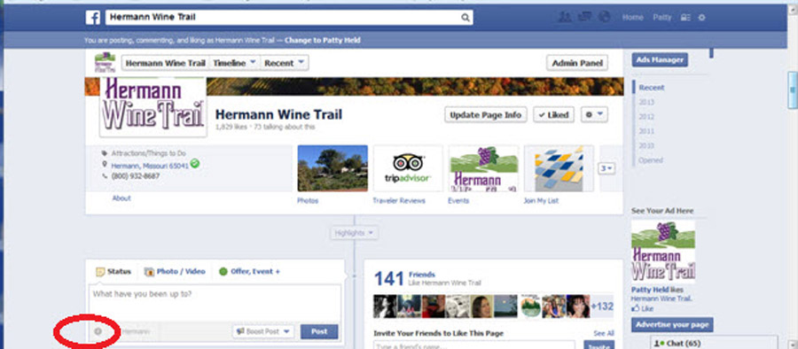 Screen Shot FB Sceduled Post Hermann Wine Trail