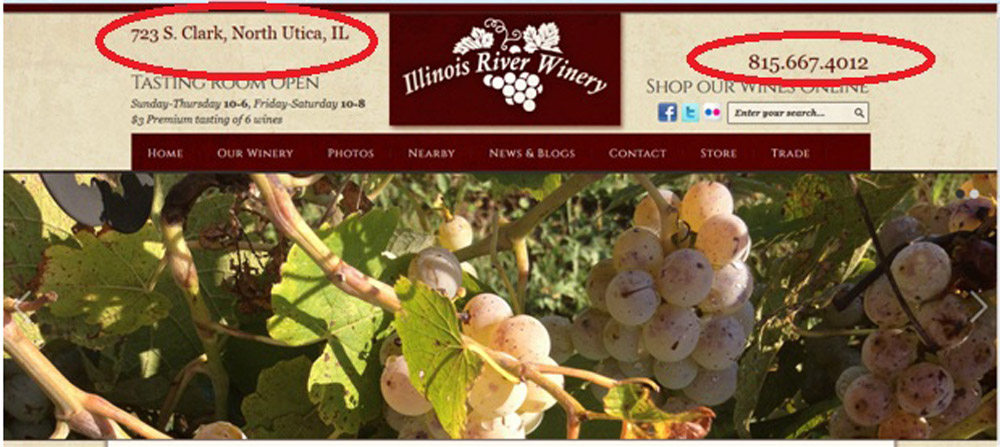 Screen Shot Illinois River Winery Website