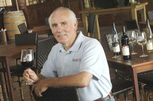 Chuck Gillentine enjoys a glass. Photo courtesy Chandler Hill Vineyards