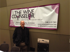 Michael Schafer, The Wine Counselor, just before a seminar