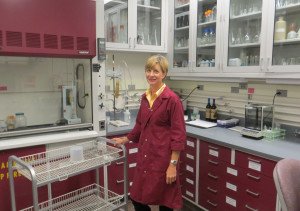 Jill Blume in the Purdue wine lab