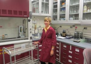 Jill Blume in the Purdue wine lab