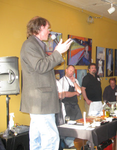 Charles Edson addresses the audience at a Leelanau Peninsula VIntners Association Event