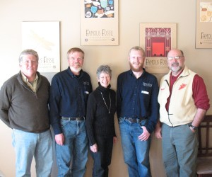 The NIWG meeting photo includes, left to right: Lynn Pease, NIWG President, Ken Rosmann, FF winemaker, Pam Rosmann, FF Manager, Royal Scheider, ass't. winemaker at FF and Mike.