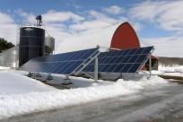 A solar installation at the Bryan Andrews farm in Wheeler, Wisconsin near Eau Clair