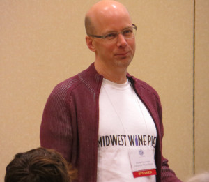 Midwest Wine Press publisher Mark Ganchiff during a presentation on the history of Illinois wine.