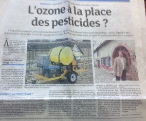 """Ozonator coverage in the local French media. The headline reads: """"Ozone in Place of Pesticides?"""""""