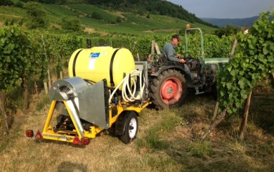 An ozonator in action at Schoepfer-Muller Vineyards in Alsace, France