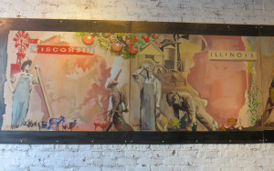 Murals at Farmhouse depicting Midwestern states are reminiscent of the classic WPA Federal Arts Projects Murals of the 30's and 40's