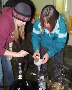 Jessamy Adams, left, and Tammi Martin of the Midwest Grape and Wine Industry Institute at Iowa State University assist with the tannin addition trials that conducted at Tassel Ridge Winery.