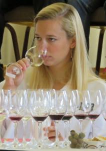 Anne Zwink of Soldier Creek Vineyard in Iowa judging wine on August 1.