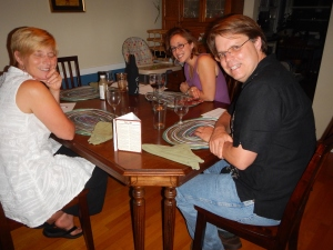 The brave tasters: (l to r) Mari, Dede and Coby.