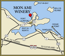 Historic Mon Ami Winery in Ohio was once the Catawba Island Wine Company, a 130,000 gallon winery founded in 1872.  Catawba is thought to be the most popular wine in American before Prohibition.