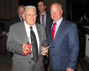 Tom Beale, owner of  The First Vineyard, and Bud Mirus who was recognized as a founding father of Kentucky's modern wine industry.