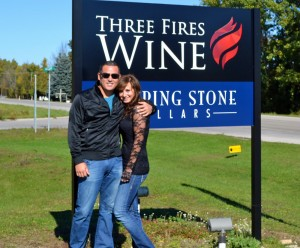 Dave and Felicia enjoying a wine tour at Three Fires Wine