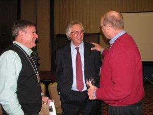 Larry Simmons (Tonne Winery), Rick Black (Wildcat Creek Winery), and Kevin Tonne (Tonne Winery) share a story at the 40th Anniversary Celebration & Reception