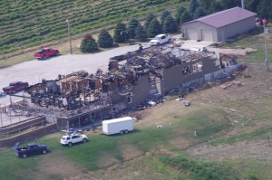Aerial photo following the fire at Miletta Vista
