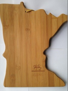 Placing logos discretely on merchadise- like this cutting board- appeals to upscale consumers.