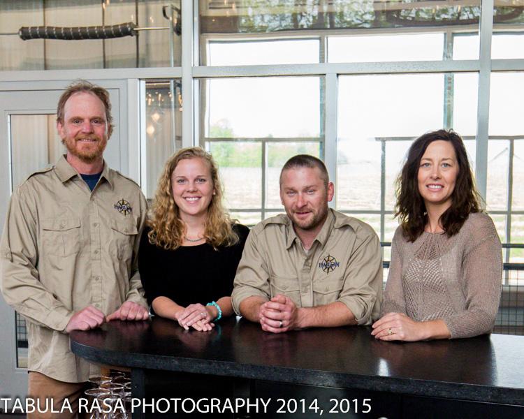 Left to right, Winemaker, Rudy Shafer, Tasting Room Manager, Laura Gelder, Winemaker, Chad Hartline, Business Manager, Amy Hemphill.