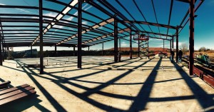 Steel framing as the event center takes shape