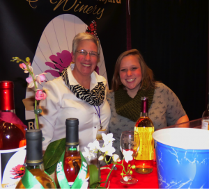Mary Mohn one of the Flower Valley Winery founders is pictured here alongside wine educator Caroline Blakeslee. The ladies sample some of Flower Valley's award winning wines.