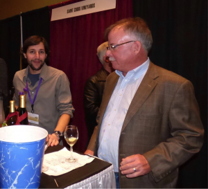 Martin Polignioli (winemaker) and owner Paul Quast sample some of Saint Croix Vineyards award winning wines.