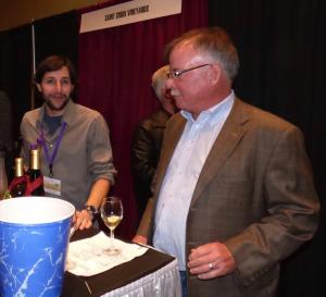 Martin Polignioli (winemaker) and owner Paul Quast sample some of Saint Croix Vineyards award winning wines.